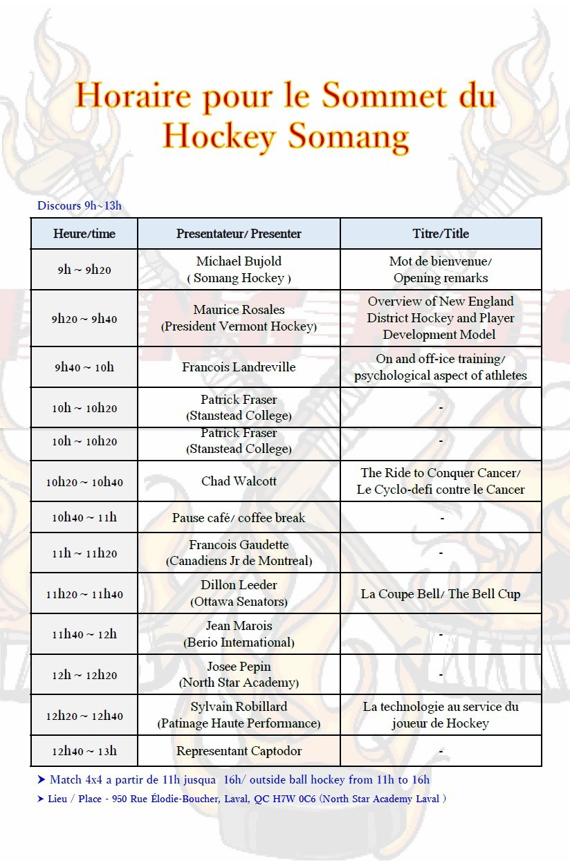 Horaire pour le Sommet du Hockey Somang